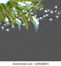 Border with realistic firtree, sparkling lights and garlands over transparent background. Design template for merry christmas. Vector illustration.