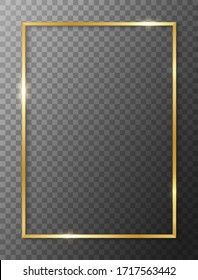 Border rectangle gold. Golden frame boarder. Gold vertical boarder. Shiny glowing realistic rectangle border isolated on background. Luxury golden frame. Design rectangular frame with shadow. Vector
