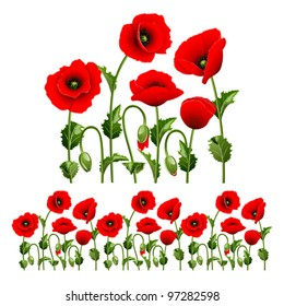 Border from red poppies.(can be repeated and scaled in any size)