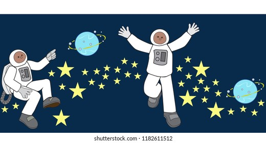 border seamless outer space astronauts stars planets vector