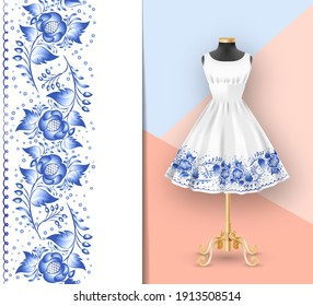 Border seamless pattern of blue flowers on classic womens dress mockup and black mannequin. Hand-drawn ornate pattern with an example of application. Clothes realistic 3d mock up. Vector illustration