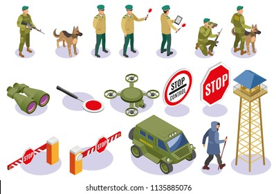 Border service isometric icons guards with equipment warning signs patrol dog and surveillance tower isolated vector illustration