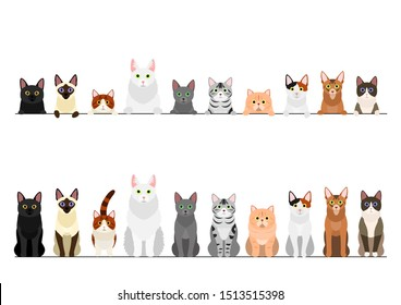 border set of various cats