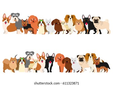 Border of small dogs set