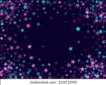 Border of star sparkle texture glitter pattern. Trendy colored confetti of flying stars, magic geometric sparkles stardust vector background frame. Cosmic party design.