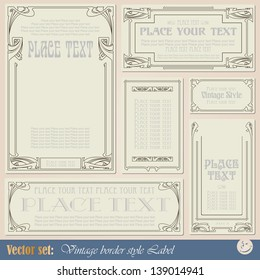 Border style labels on different topics for decoration and design