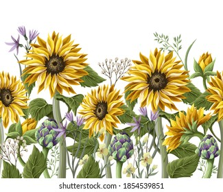 Border with Sunflowers bouquet,