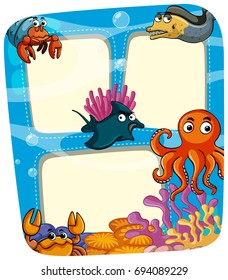 Border template with animals under the sea illustration