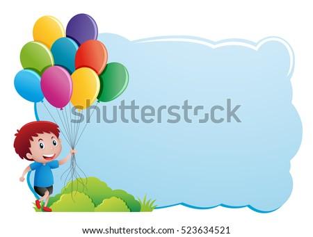 Border Template Boy Holding Balloons Illustration Stock Vector ...