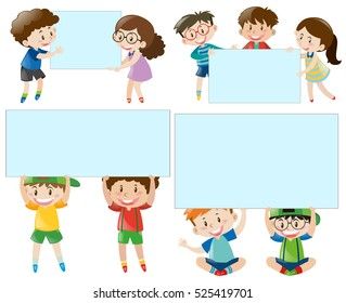 Border template with boys and girls illustration