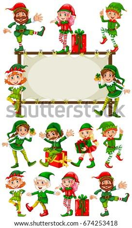 border template christmas elves illustration stock vector royalty