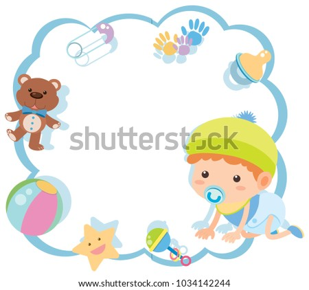 Border Template Cute Baby Toys Illustration Stock Vector Royalty