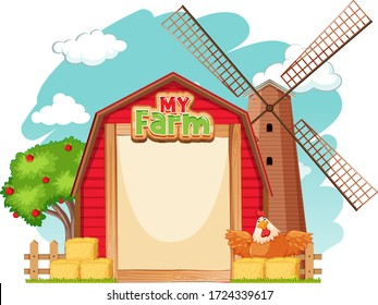 Border template design with red barn and chicken illustration