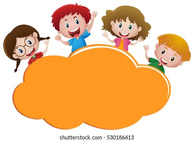 Border template with four happy kids illustration