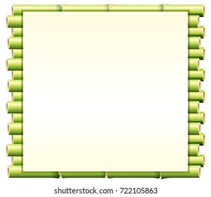 Border template with green bamboo illustration