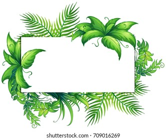 Border template with green leaves illustration