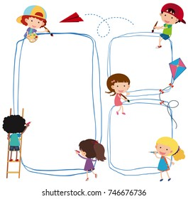 Border template with kids drawing line illustration