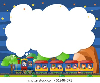 Border template with kids on the train illustration