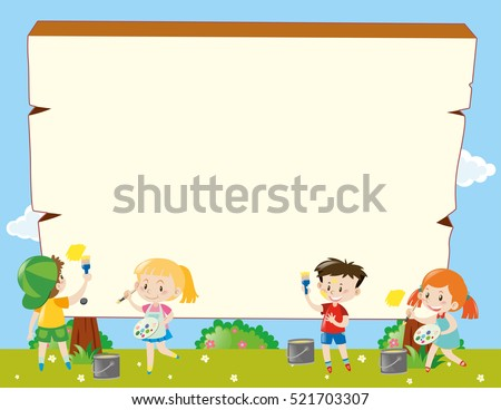 border template kids painting illustration のベクター画像素材