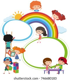 Border template with kids playing illustration