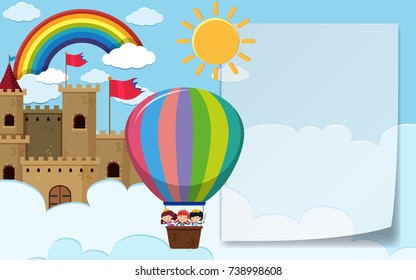 Border template with kids riding balloon illustration
