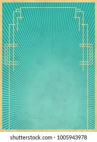 Border template vector illustration. Art Deco and Nouveau Gatsby Epoch 1920's and 1930's Style
