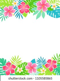 Border of tropical flowers and leaves for card design template