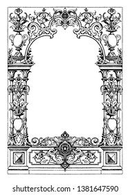 Border Typographical Frame was designed during the Renaissance period between 1550-1560, vintage line drawing or engraving illustration.