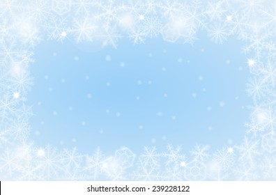 Border of various snowflakes on light background.