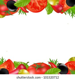 Border With Vegetables, Isolated On White Background, Vector Illustration
