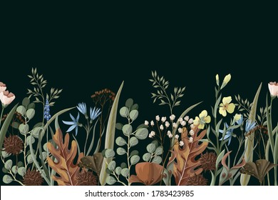 Border with wild and dried flowers. Autumn trendy print.