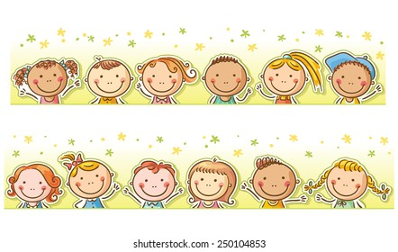 Border/frame with twelve happy cartoon kids