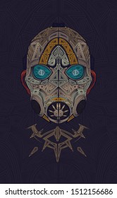 Borderlands 3 Psycho Bandit mask from the videogame! Digital line art illustration Created in minimalist style of geometric shapes.