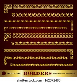 Borders with corner elements in gold - set 1