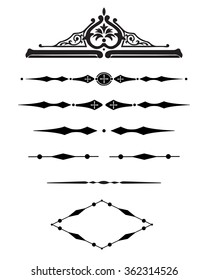 Borders decorative vignette elements set isolated on white for design. Vintage style. Vector illustration