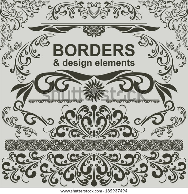 Borders and design Element - vector set.