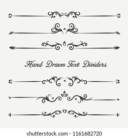 Borders and dividers decorative vignette elements set