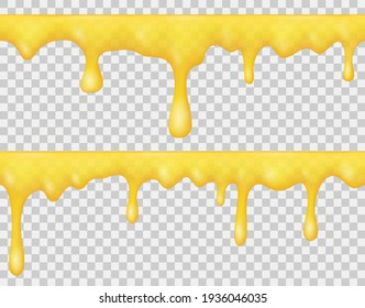 Borders of dripping liquid honey, syrup or yellow caramel isolated on transparent background. Vector realistic set of melting golden honey, sauce or sweet cream. Seamless pattern of flowing drops