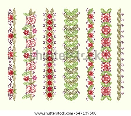 Borders Folk Ornament Embroidered Knitted Flowers Stock Vector