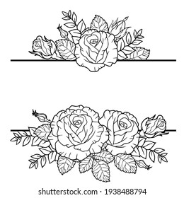 Borders of rose flowers, branches and leaves. Vector isolated on white background. Coloring book for adults, elements for packaging design of cosmetics, medicine, tea, wedding invitetion and cards