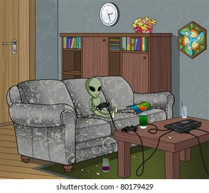 Bored Alien Playing Video Games Indoors