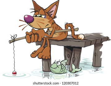 A bored cartoon cat fishing from a jetty