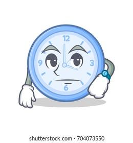 Bored clock character cartoon style