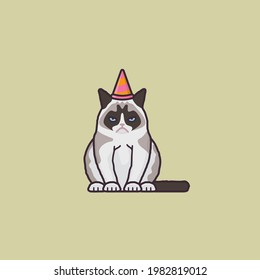 Bored grumpy cat with party hat vector illustration for Blasé Day on November 25
