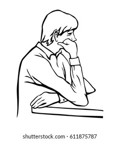 Bored man with a hand on his face vector sketch. Despondent guy black line art illustration isolated on white background