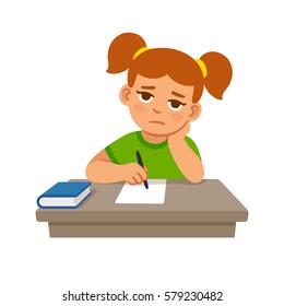 Bored school girl doing homework. Cute cartoon vector illustration.