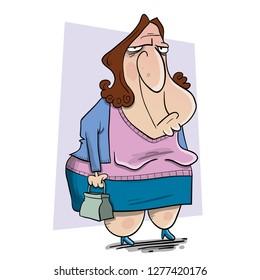 bored ugly woman holding bag
