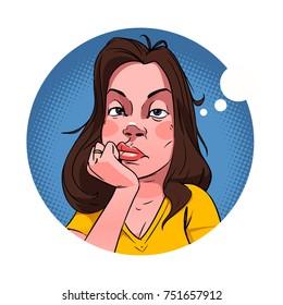 bored woman vector illustration