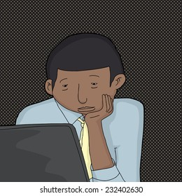 Bored young man in necktie looking at laptop