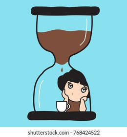 Bored Young Woman In Coffee-Filled Hourglass  Leaning Table Waiting For Coffee Drip Brewing Concept Card Character illustration